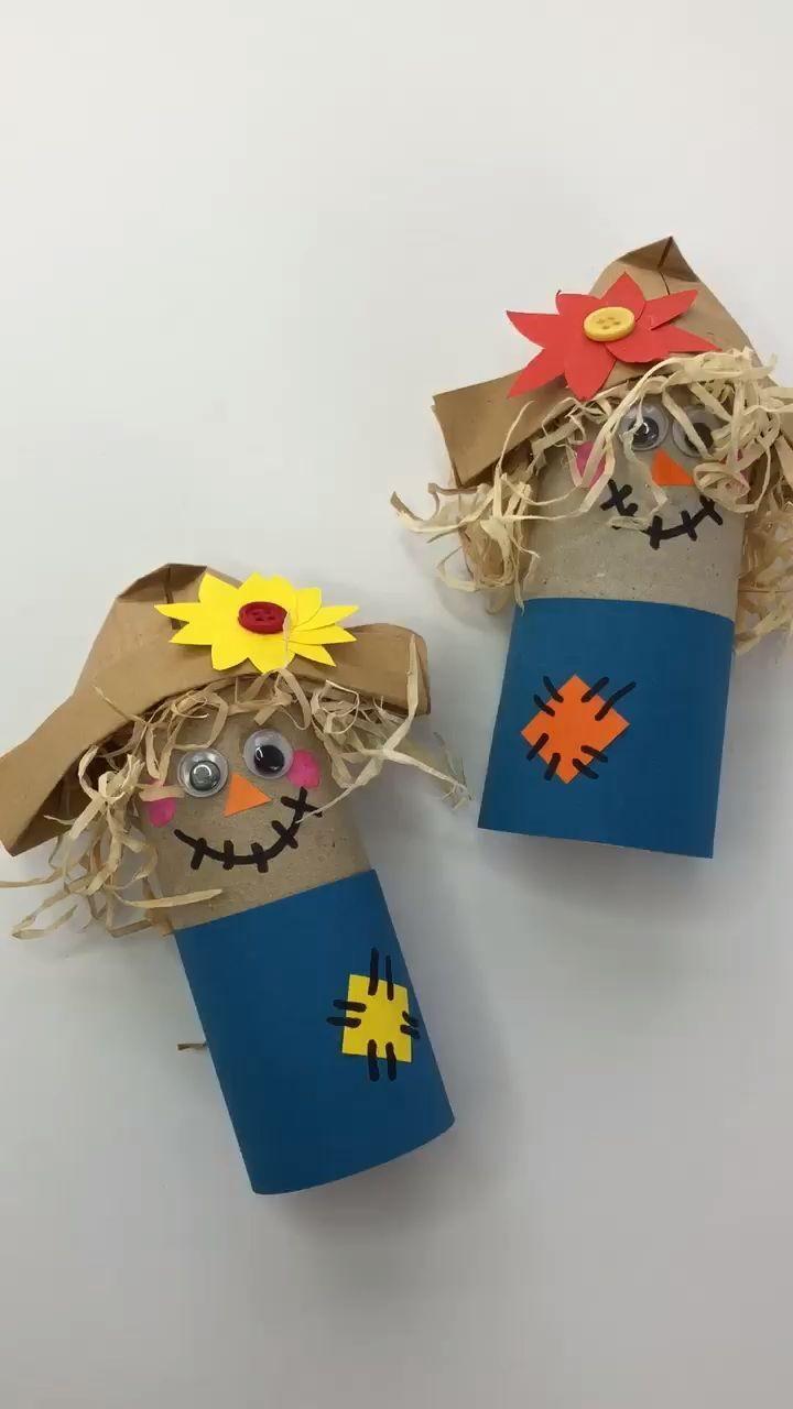 Épouvantail en rouleau de papier toilette simple pour enfants d'âge préscolaire - #fensterbilderherbst