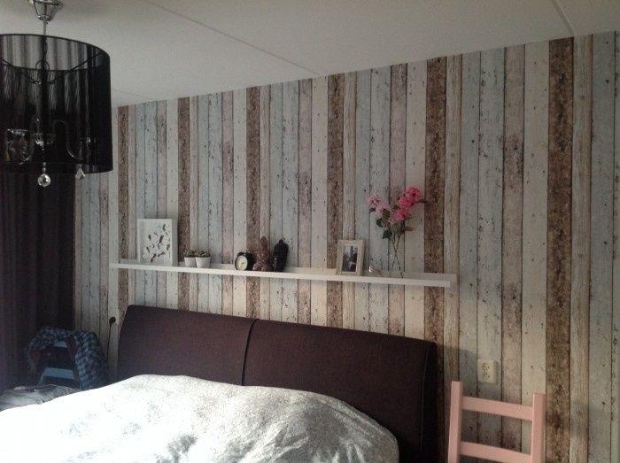 sloophout steigerhout hout behang beige bruin strepen vlies zx116, Deco ideeën