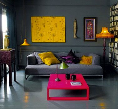 Decoration, White Ceiling And Black Wall Modern Living Room Colors With  Soft Grey Sofa Square Shape Pink Table Also Yellow Wall Panel In Pretty  Decoration ...