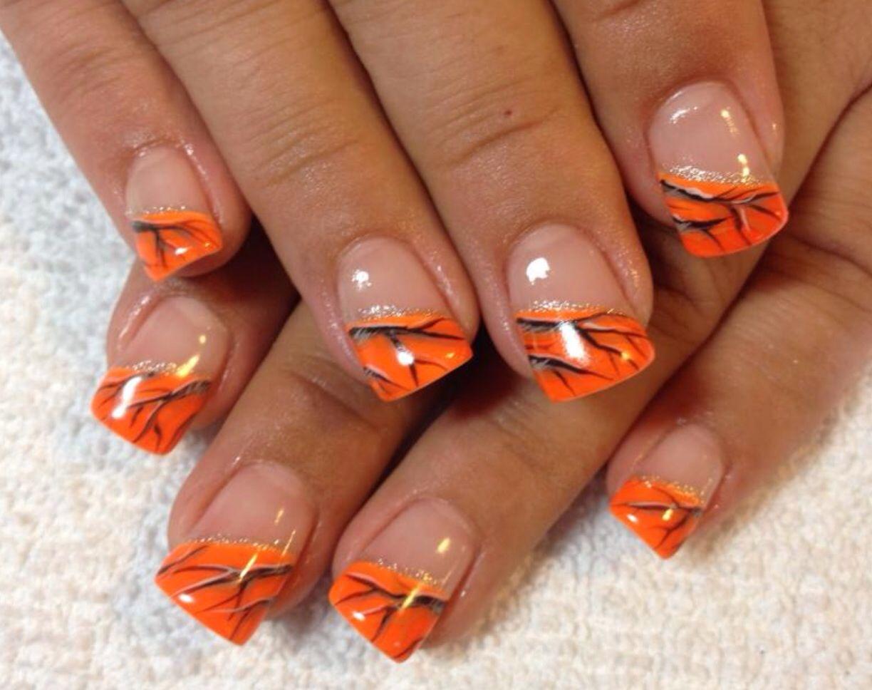 Orange Real Tree Camo Nails