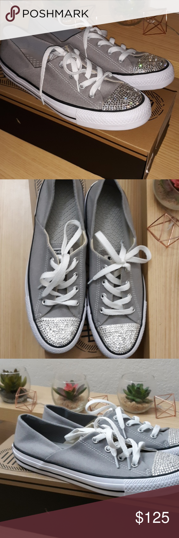 Grey Converse All star Coral Ox BLING