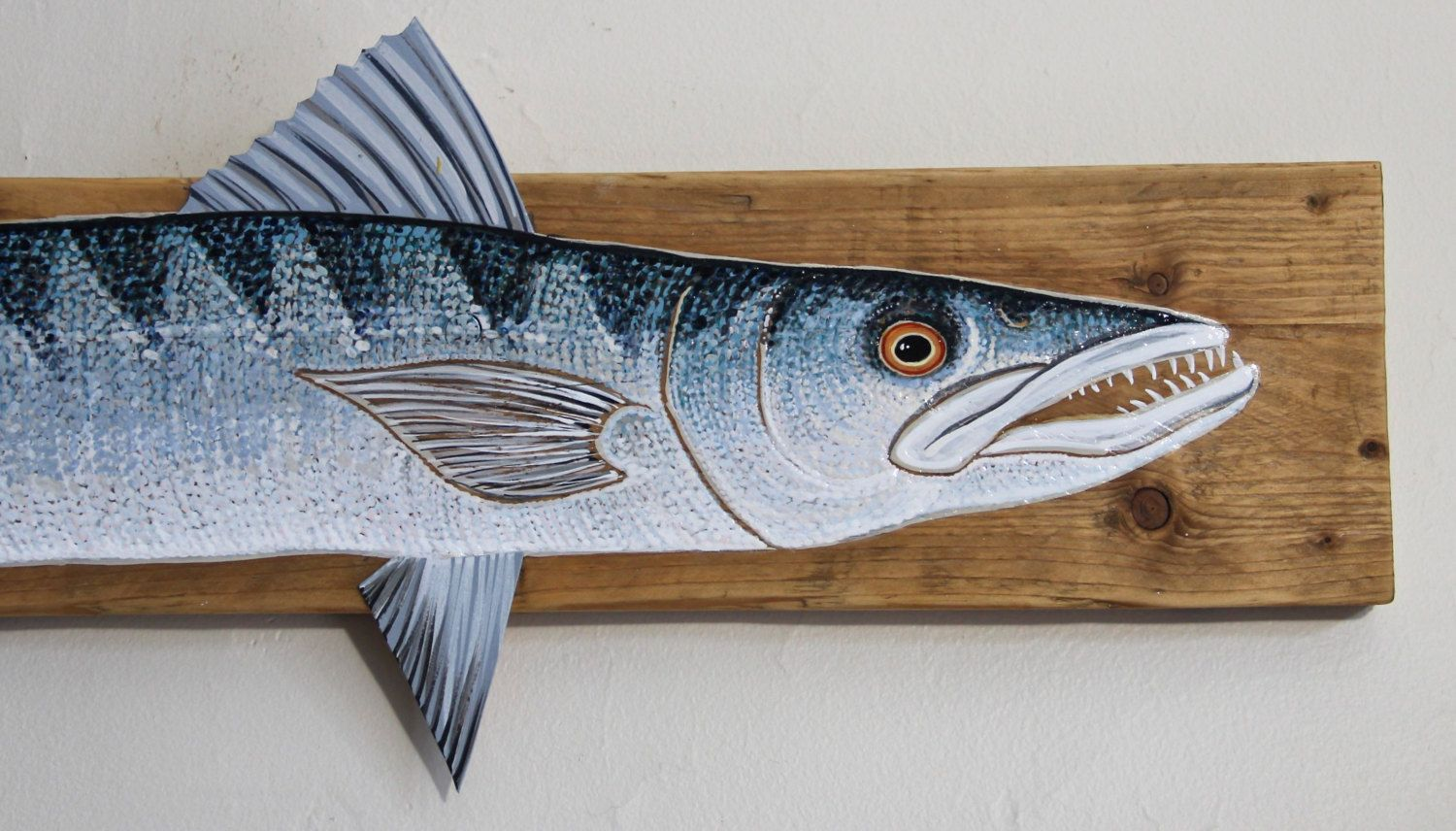 Hand Painted Barracuda on Driftwood by FishPondArts on Etsy