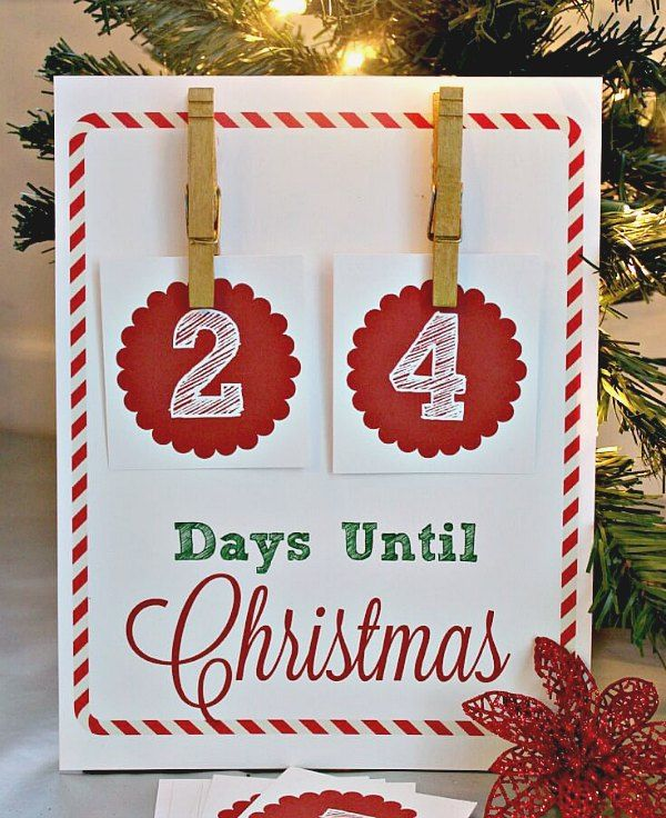 How Many Days Until Christmas Countdown.Free Christmas Countdown Printable Sign Holidays