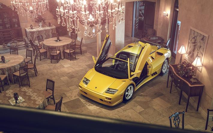 Download wallpapers Lamborghini Diablo Supercar yellow sport car lambo doors photo shoot & Download wallpapers Lamborghini Diablo Supercar yellow sport car ...