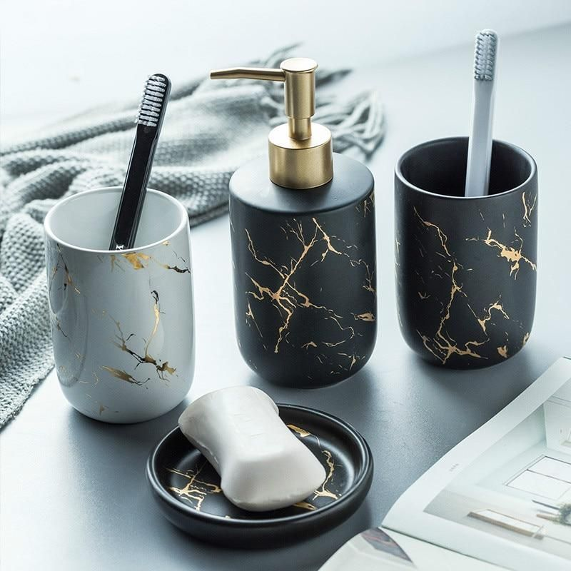 Ceramic Imitation Marble Bathroom Accessory Set Mouthwash Tools Holder For Ho Marble Bathroom Accessories Bathroom Accessories Luxury Black And Gold Bathroom