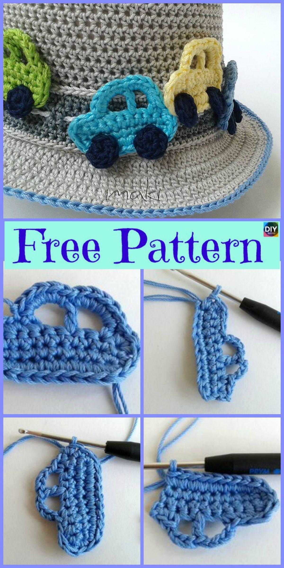 Cute Crochet Car Applique - Free Pattern #crochetapplicates