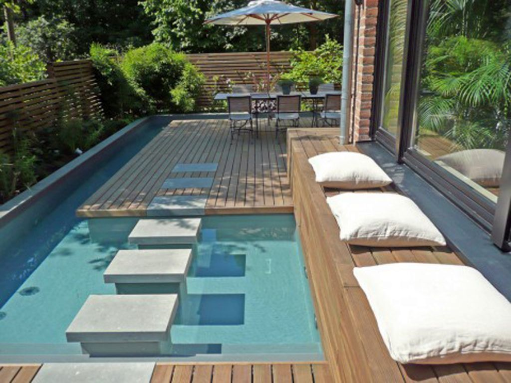 Sunken Patio In Reclaimed Pool Google Search Small Pool Design Swimming Pools Backyard Swimming Pool Designs