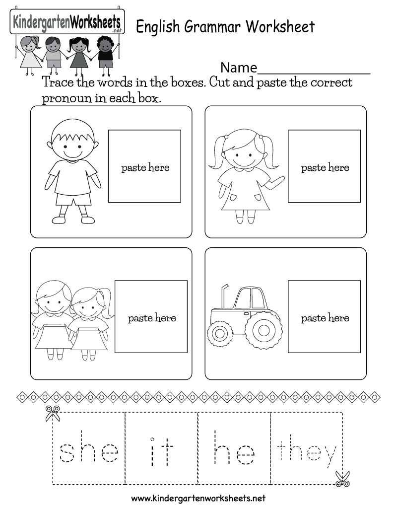 This is a pronoun worksheet for kindergarten kids. Kids can cut out the  pronouns and