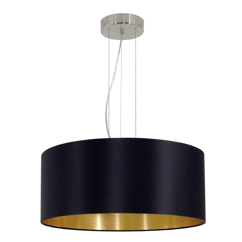 Eglo 31605 Maserlo Large Black And Gold Fabric Pendant Light