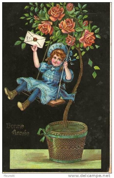 illustre petite fille la balanoire fleurie de roses