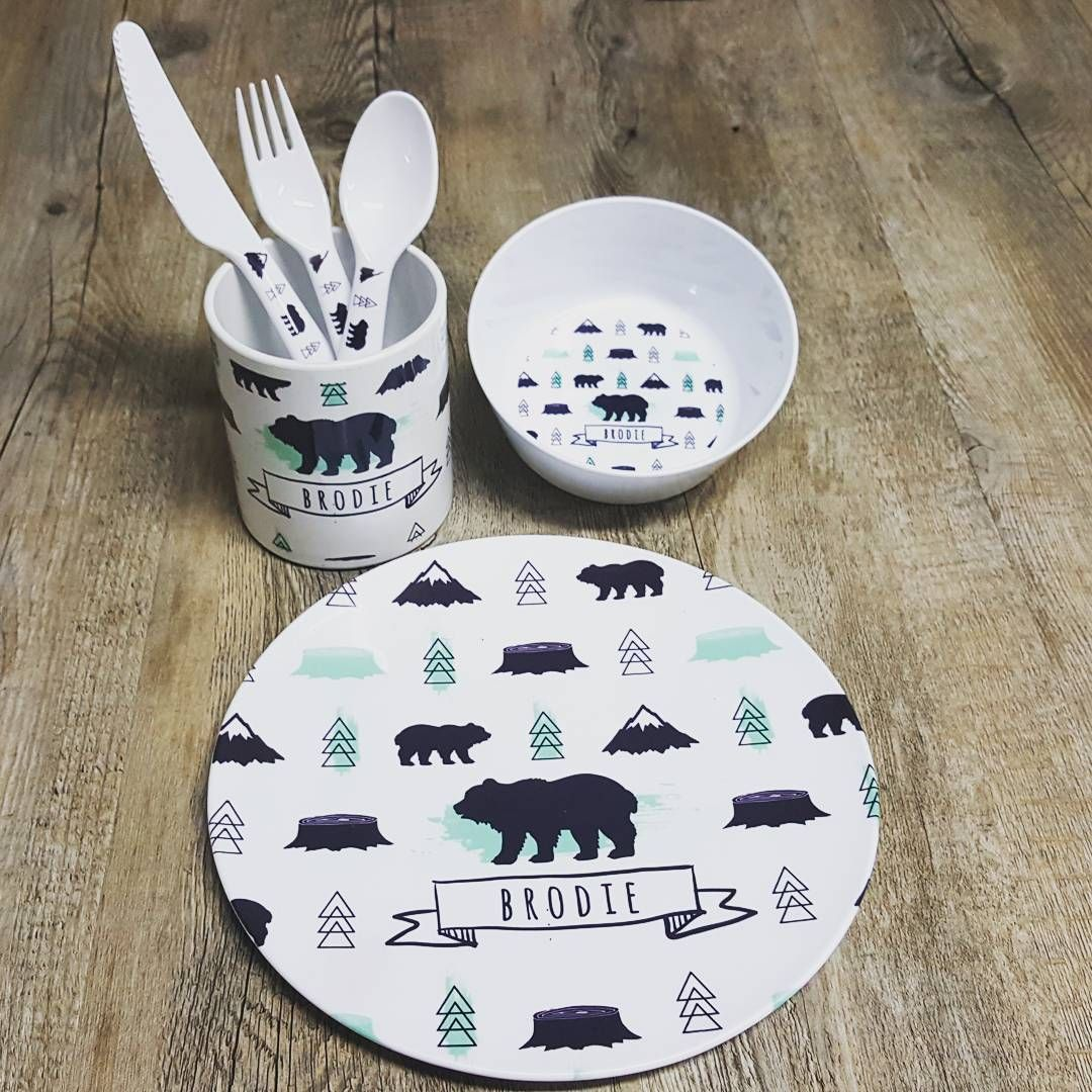 Kids Dinner Set Cutlery Mug Plate Bowl Custom Name Bear & Personalised Melamine Kids Dinner Sets Baby Gifts + Keepsakes Decor ...