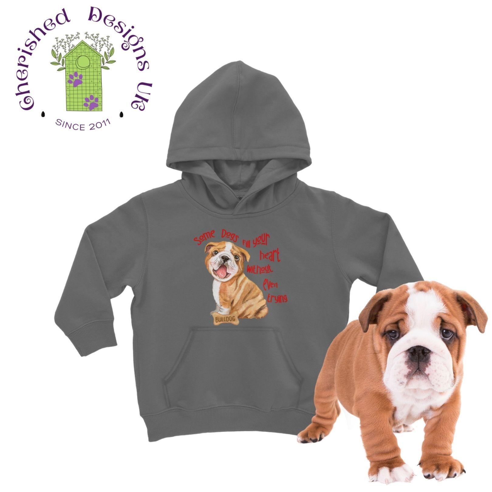 Some Dogs Bulldog Kids Hoodie - Dark Grey / 12 to 13 Years