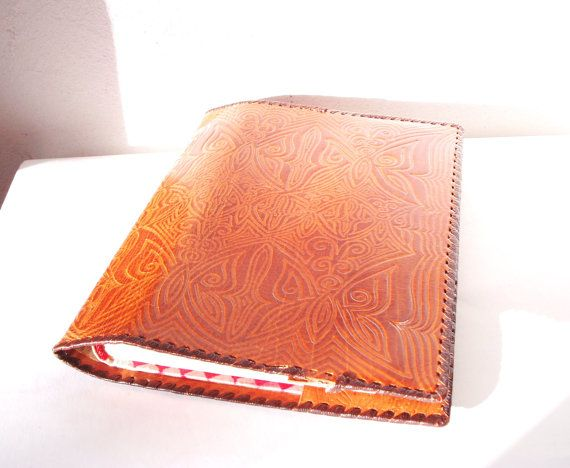 Leather Book Cover Vintage Brown Large Notebook by MerilinsRetro