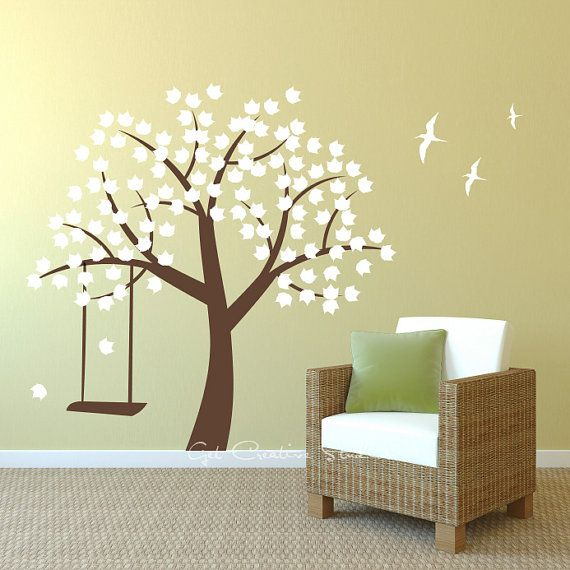 White Tree Decal Leaves Birds Swing Brown Branch Wall Decal Leaf ...