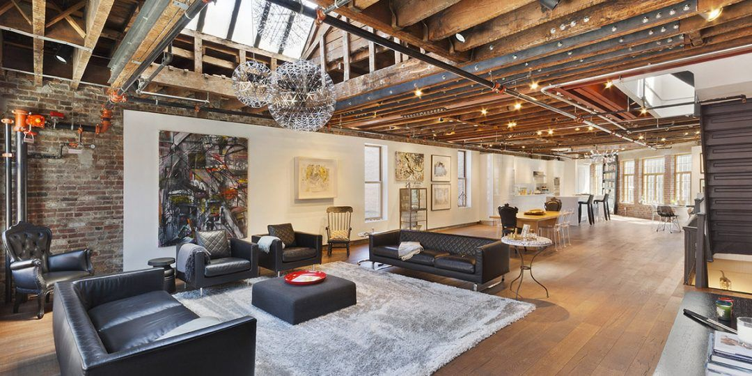 extraordinary new york loft living room | loft-Manhattan-New-York French industrial style with ...