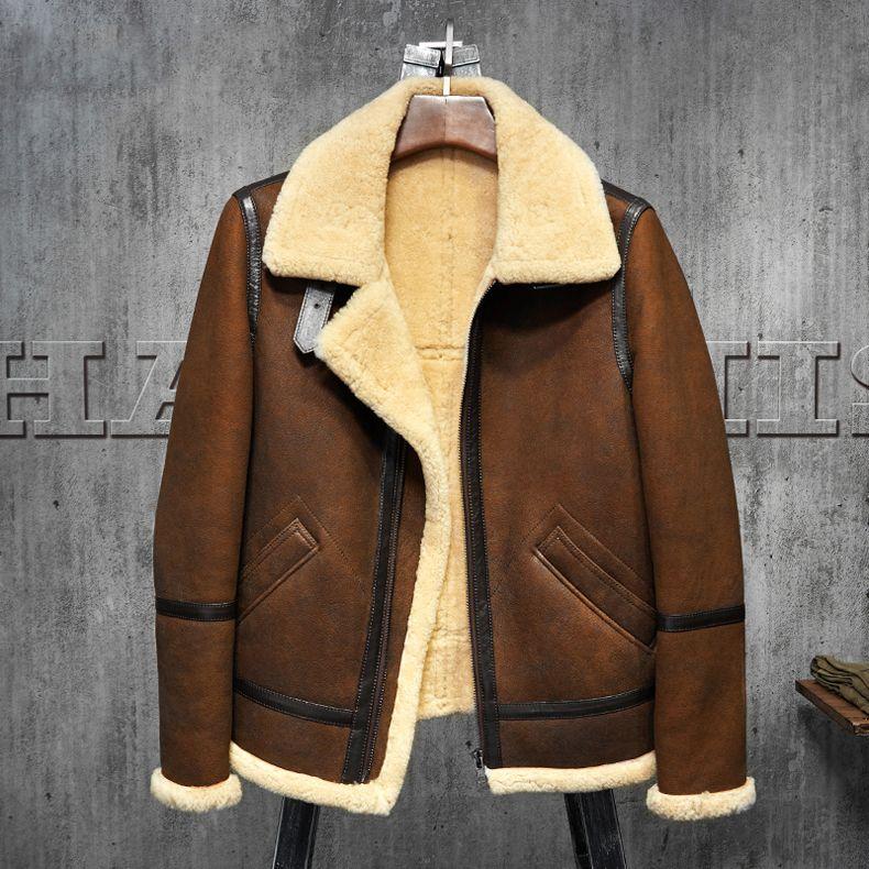 Men's Shearling Leather Jacket Dark Brown B3 Jacket