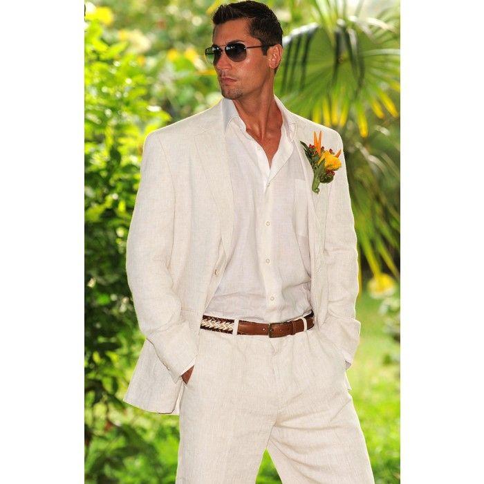 White Linen Suits For Men Beach Wedding Linen Suits For Men