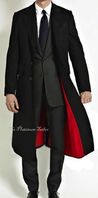 00299e2d2d5f Mens Classic Black Wool Cashmere Long Overcoat Velvet Collar Red Lining  Cromby in Clothes, Shoes & Accessories, Men's Clothing, Coats & Jackets |  eBay
