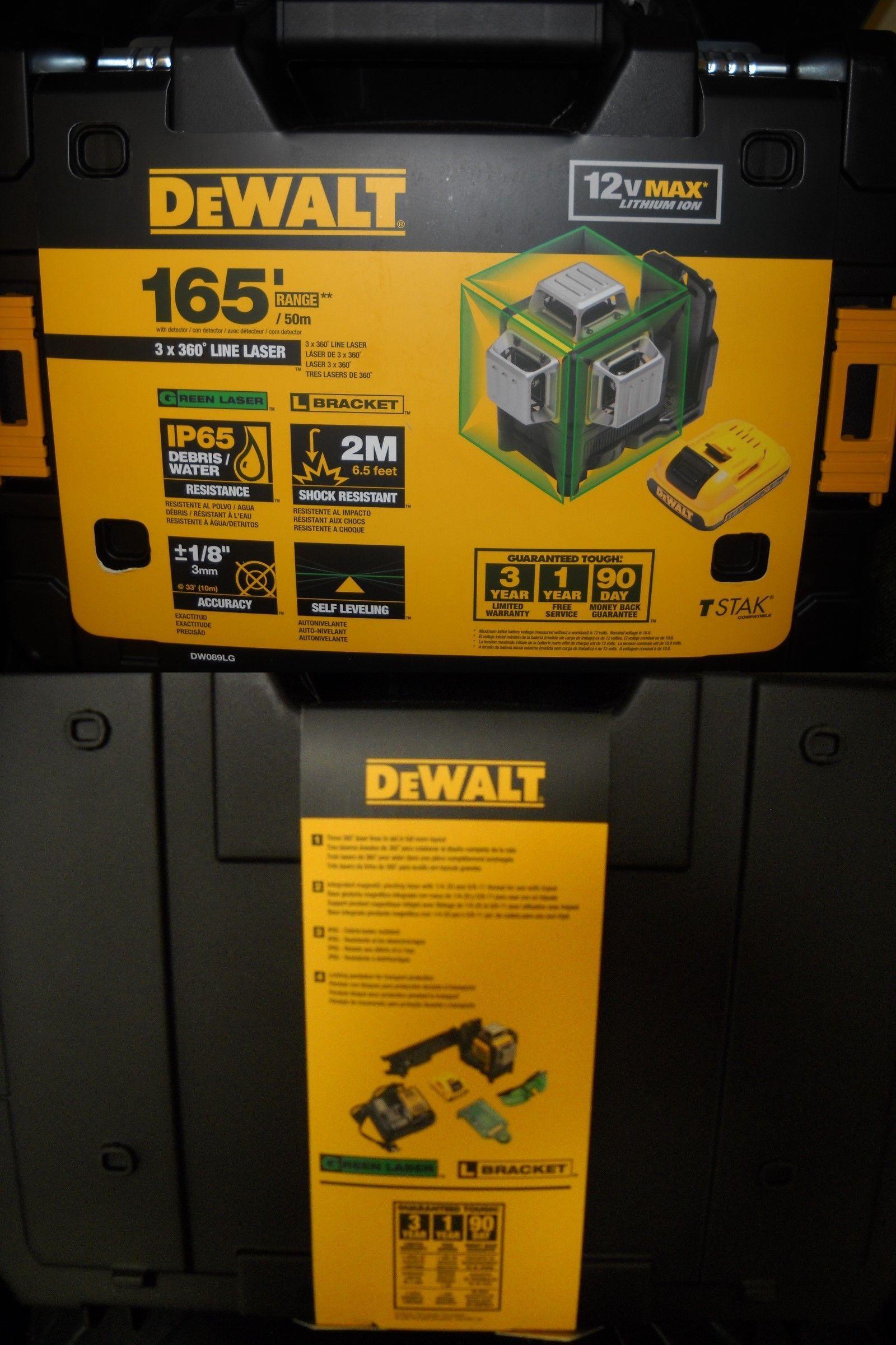 Dewalt Dw089lg 12 Volt 3 X 360 Degree Lithium Ion Green Beam Line Laser New Dewalt Measuring Tools Beams
