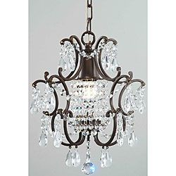 Clear Crystal Brown Base Chandelier small size ideal for pendants over island or foyer or top of stairs