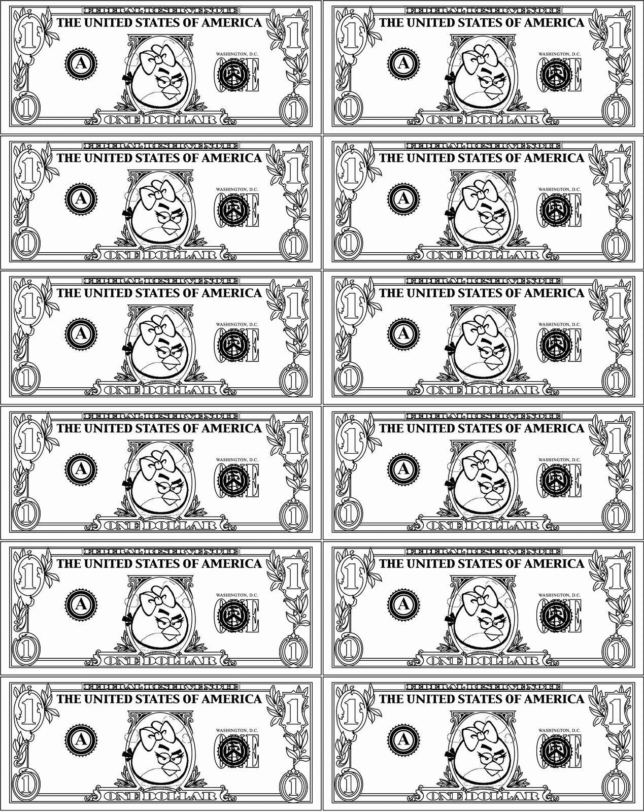 Money Coloring Pages Printable Elegant Angry Birds Play Money Classroom Di 2020
