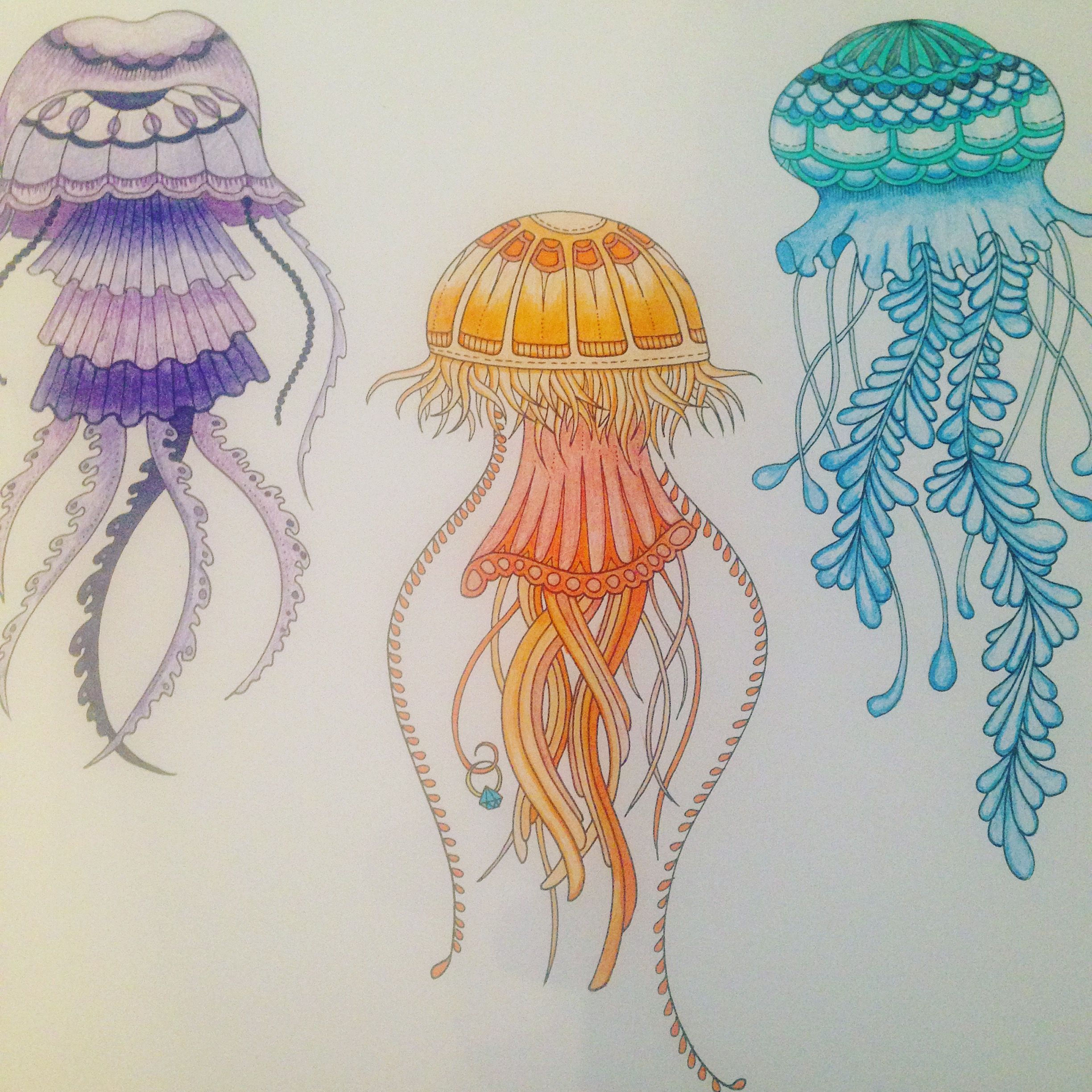 Lost Ocean, coloring book by Johanna Basford. Jellyfish in colored ...