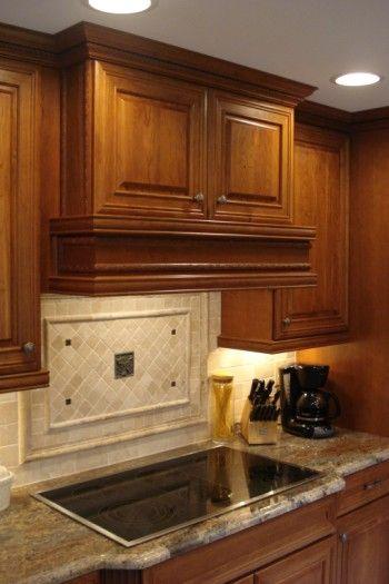 images of picture frame tile over range top | Custom Built range hood with Lmestone tile backsplash with authentic ...
