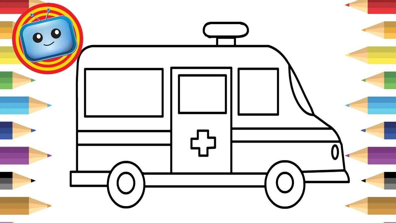 How To Draw An Ambulance Colouring Book Simple Drawing Game Animation Easy Drawings Drawing Games Coloring Books