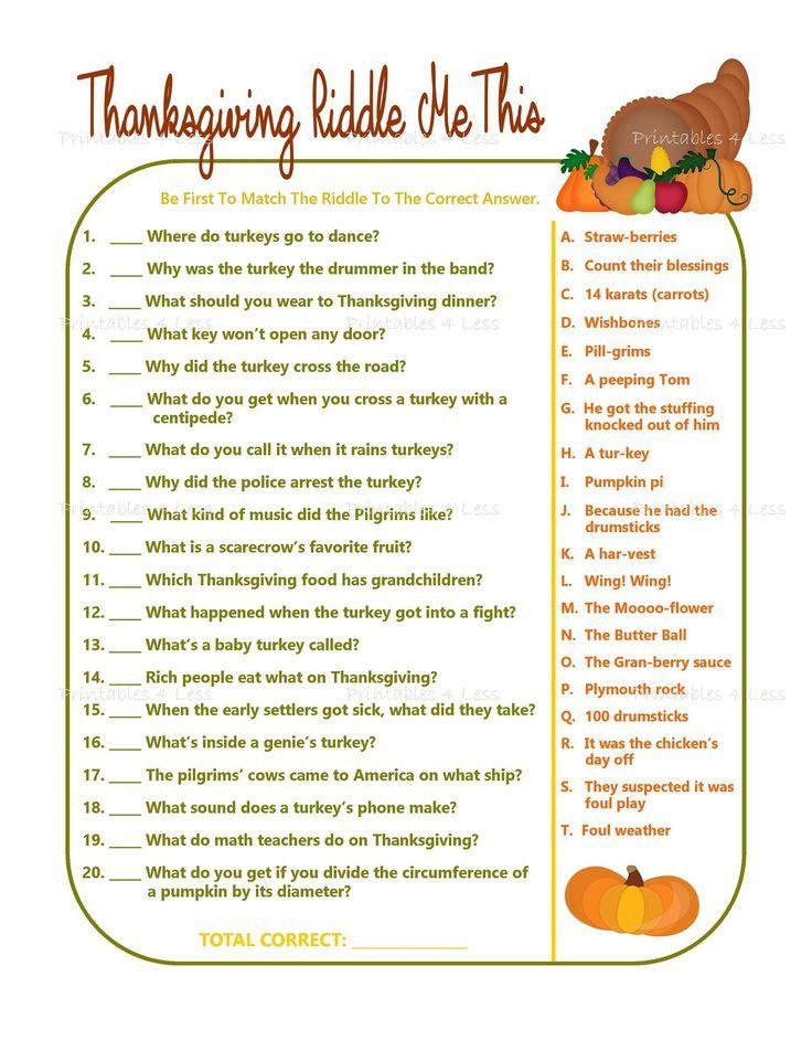 Thanksgiving Game, Printable Thanksgiving Riddle Game, Thanksgiving Party Game, Fall Party Game, Kid