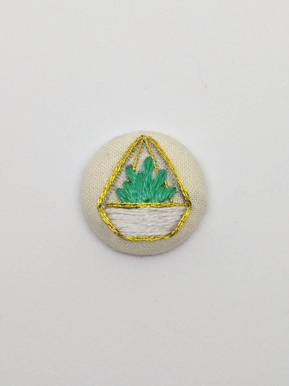 Gold And White Terrarium Button Embroidery With Green Succulent By  # Terrarium Dangle