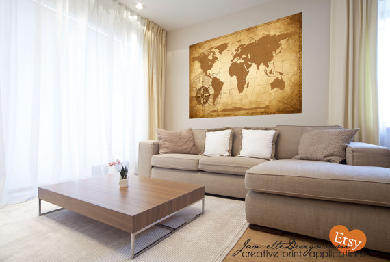 Living room wall decorlarge world map wall decal gumiabroncs Gallery
