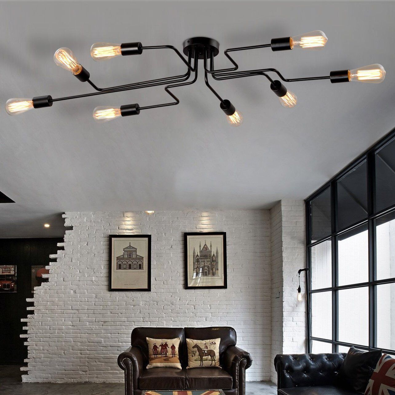 Steel Art 9-Light Semi Flush Mount  Living room lighting, Room
