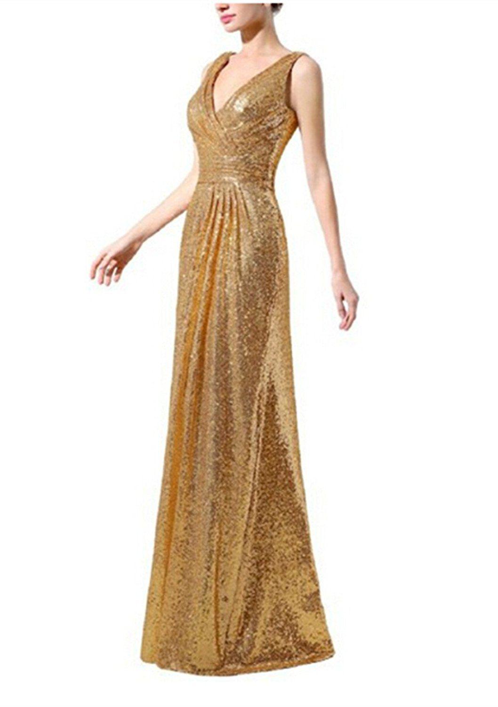 Shangshangxi womenus sequins v neck gala bridesmaid dress shining