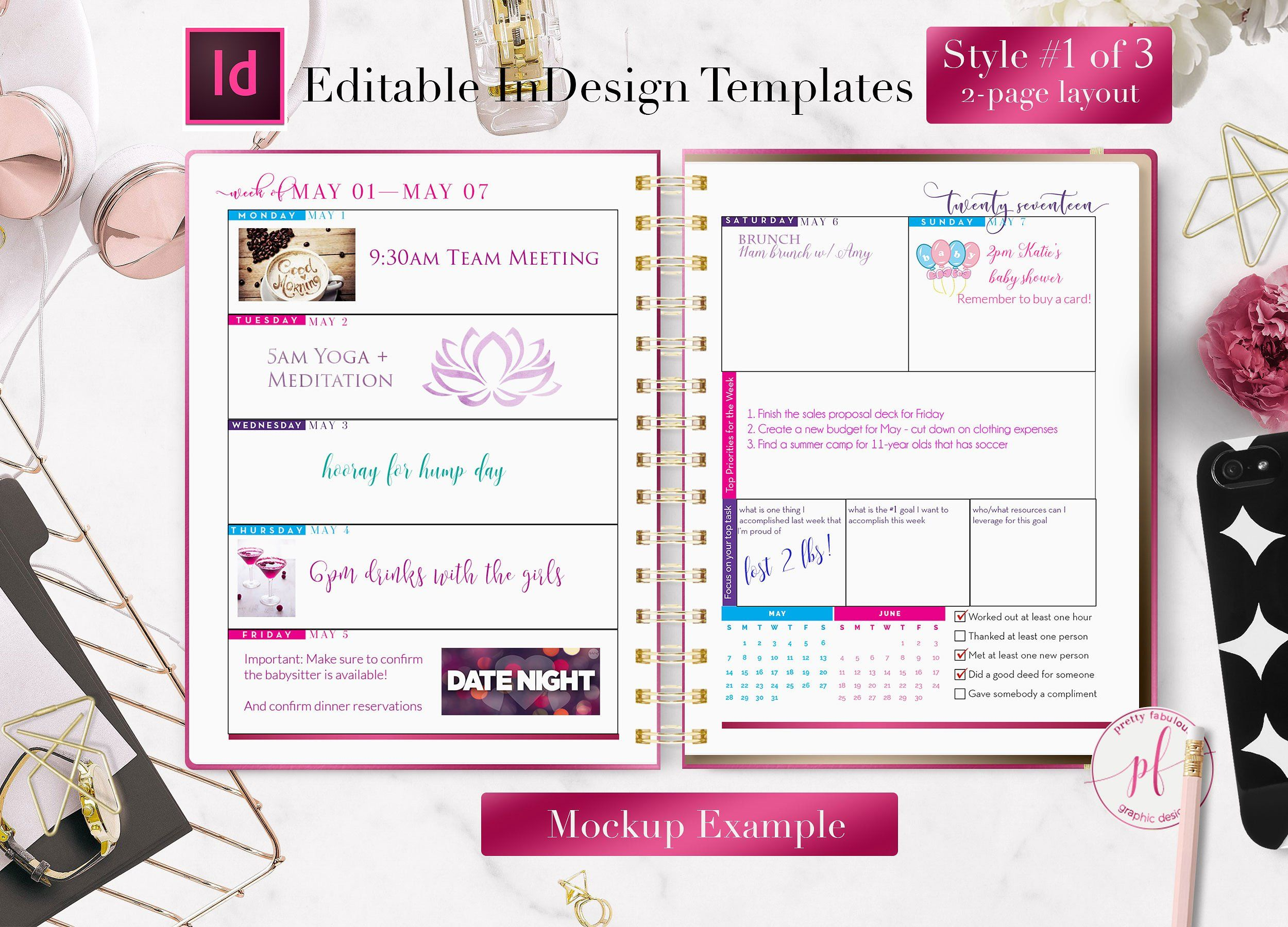 Planner Templates With Indesign Planner Template Weekly Planner