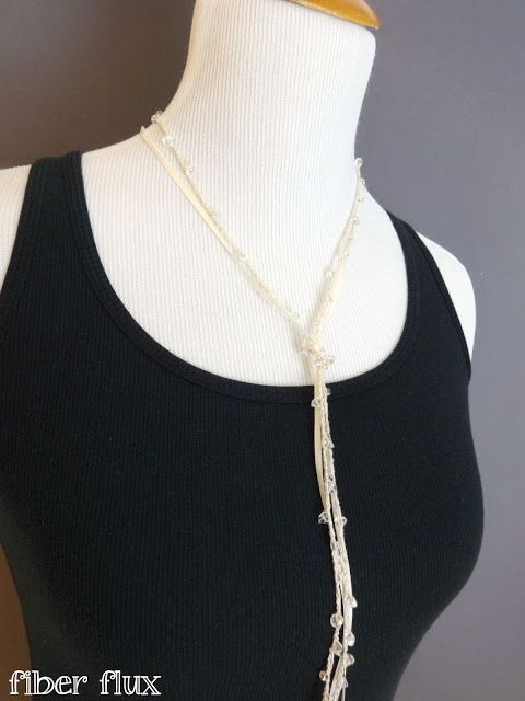 Shimmering Lariat Necklace, free crochet pattern and video tutorial from Fiber Flux