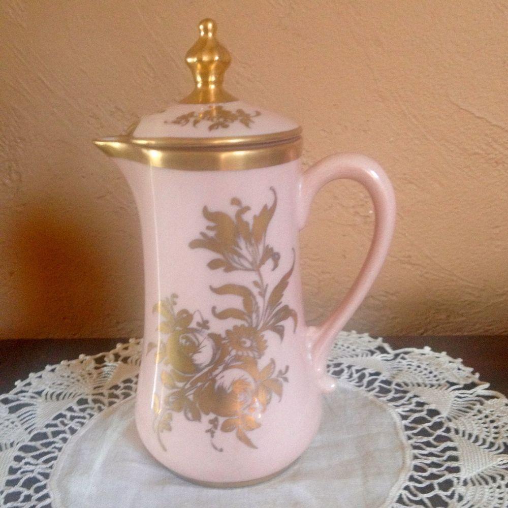 Vintage Gilded Pink Porcelain Lidded Creamer Hand Painted Orlik Made in France