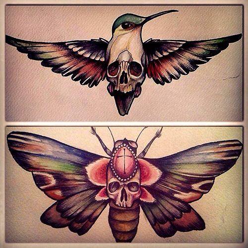 Skull Hidden In Birds And Butterflies Tattoo Skeleton Tattoos Hummingbird Tattoo Sternum Tattoo