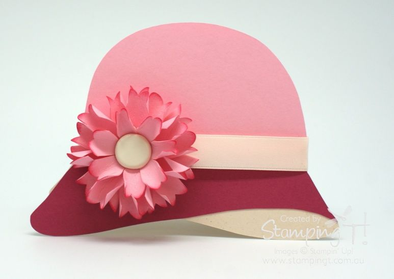 Cloche Hat Card Template At Site Stampin Up Stamping T Cloche Hat Pink Fancy Fold Cards Shaped Cards Card Patterns