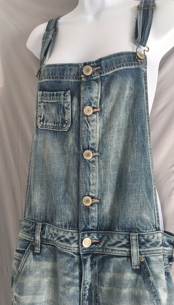 413903ad0d76 AMERICAN EAGLE Overalls Sz LARGE Denim BLUE Ripped GRUNGE Faded Jeans Women  D  AmericanEagleOutfitters