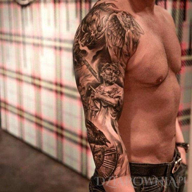 Tatuaż Rękaw Religijny Rękawy Na Przedramieniu Na