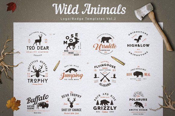 2a4434c73d6fe Wild Animals Logo Badge Templates v2 by lovepower on  creativemarket Happy  to present you another cool logo design pack that will simplify your work  when ...