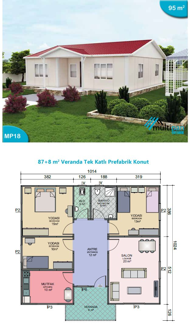 Mp18 87m2 8m2 3 bedrooms 2 bathrooms lounge and for House plans with separate office entrance