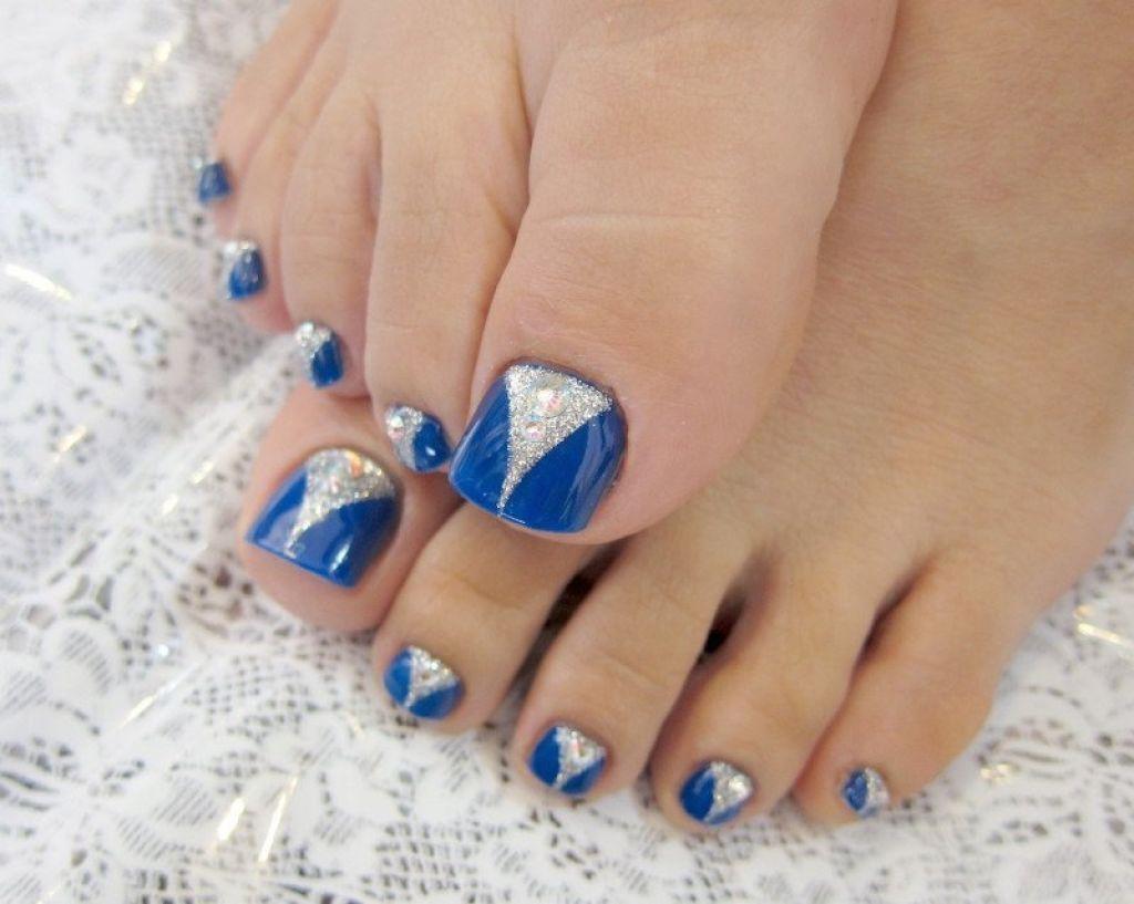 Toe Nail Art Design Blue and Silver | Face Makeup Ideas | Girl Care ...
