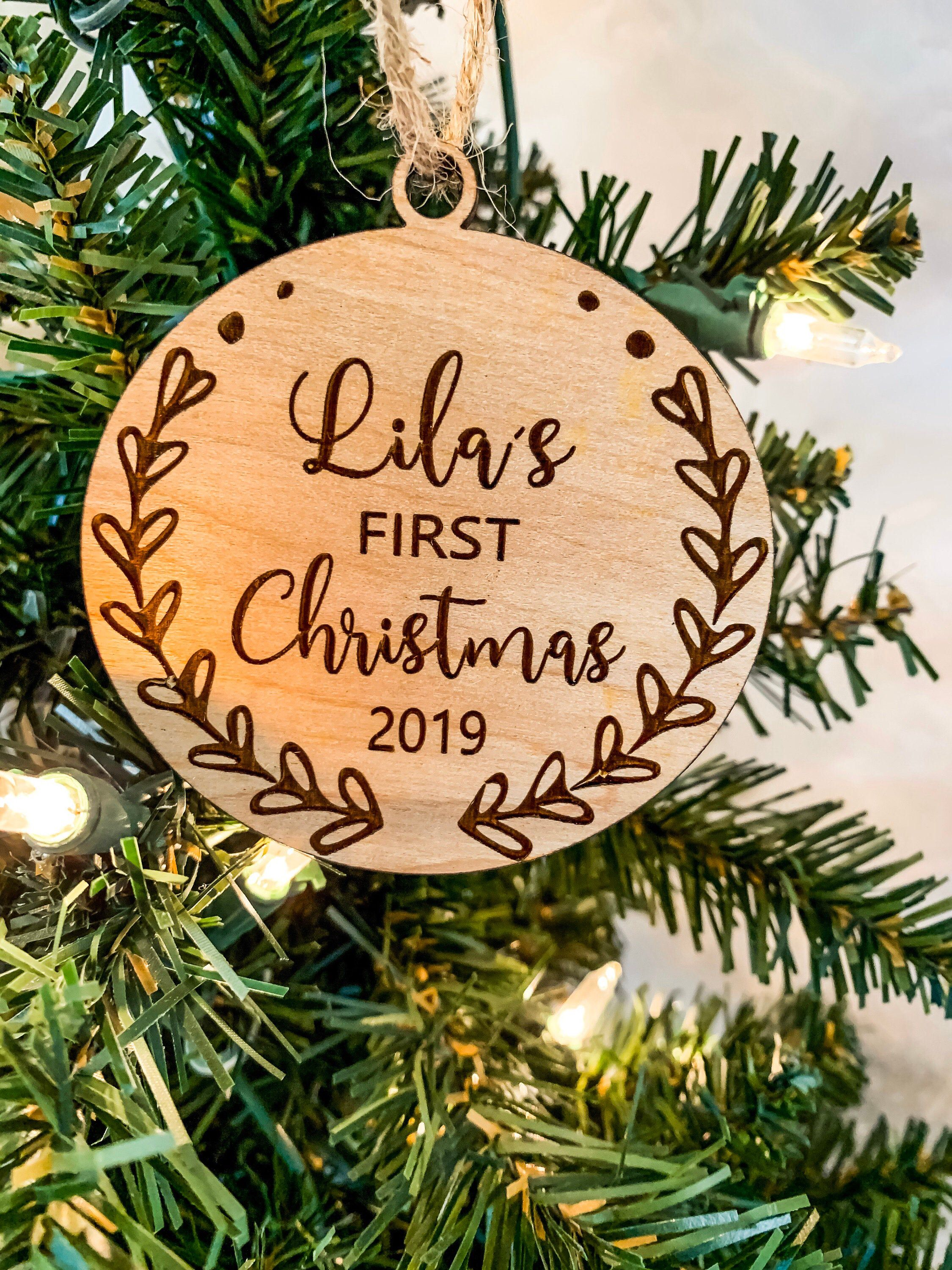 My First Christmas Ornament 2019 Personalised Baby/'s 1st Christmas Bauble Our First Christmas Personalized Xmas Custom Gift Tree Decorations
