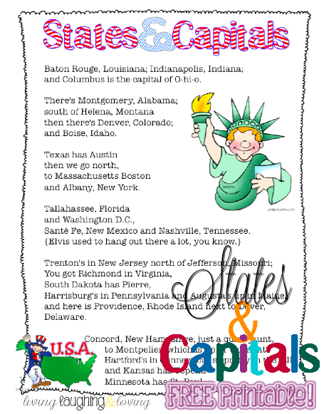 States Capitals Song Free Printable