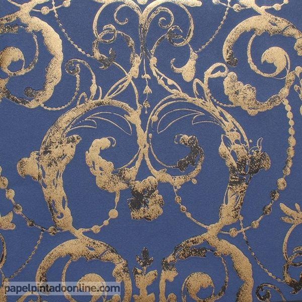 Papel pintado flock 4 95691 4 papel de fondo azul con for Papel pintado color plata