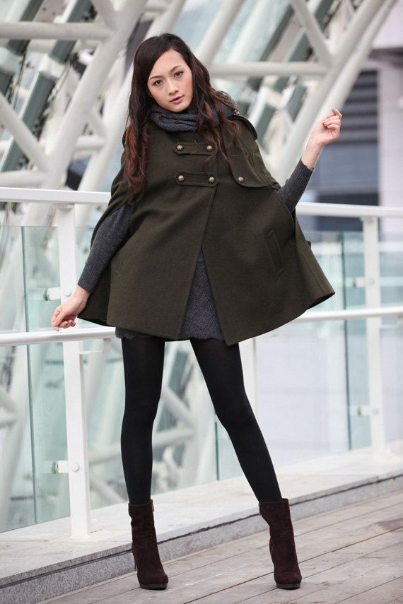Army Green Cape Double Breasted Button Hooded Cashmere Cape Women ...