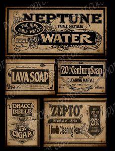 Primitive Vintage Labels For Boxes Or Tins