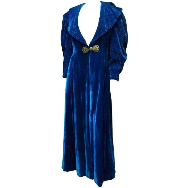 1930s Blue Velvet Opera Coat 520 Liked On Polyvore Featuring Outerwear Coats And