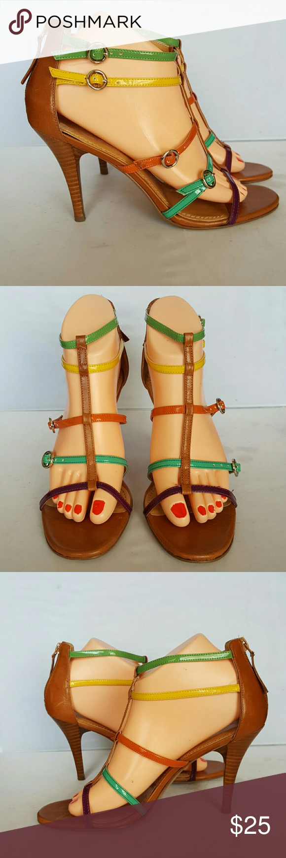 "Nine West Jimny Dee Multicolor Gladiator Sandals The Jimmy Dee sandal features an approximate 4"" heel, manmade sole and uppers, with four adjustable straps and rear zip. This is a great shoe that will work well with any ensemble. Nine West Shoes Sandals"